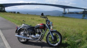 Triumph bike by Skye Bridge